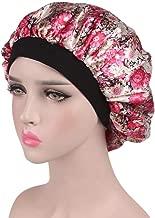 Fmystery Women's Satin Floral Wide-brimmed Hair Band Sleep Cap Muslim Hat Hair Cap