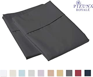 1000 Thread Count Pillowcases Standard Charcoal, 100% Long Staple Cotton Pillow Cases, Luxurious Sateen Weave Set of 2 Pillow Covers (Grey Standard Size 100% Cotton Pillow Cases)