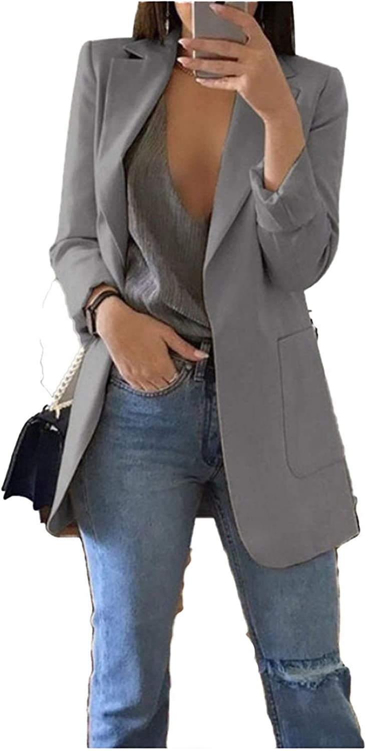 Andongnywell Women's Casual Lapel Work Office Long Sleeve Open Front Blazer Jacket with Pockets Overcoats Outwears