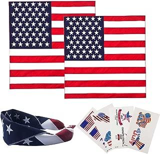 American Flag Bandana 4th of July Decorations Independence Party Supplies Patriotic USA Headband for Men Women Girl Kids ( 2 Bandana + 4 Tattoo )
