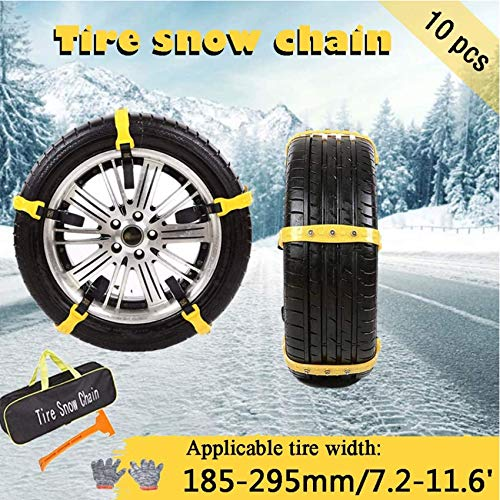 Yuanj Snow Chains for Car SUV Truck, Anti Slip Tire Chain Adjustable Snow Tire Cable Mergency Car Chains Fit for Tire Width 185-295mm/7.2-11.6'