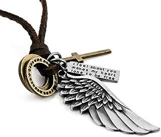INBLUE Men's Alloy Genuine Leather Pendant Necklace Cross Angel Wing Adjustable