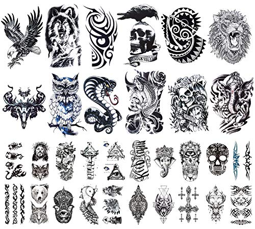 32 Sheets Temporary Tattoos Stickers, 12 Sheets Fake Arm Chest Shoulder Tattoos for Men with 20 Sheets Tiny Black Temporary Tattoos