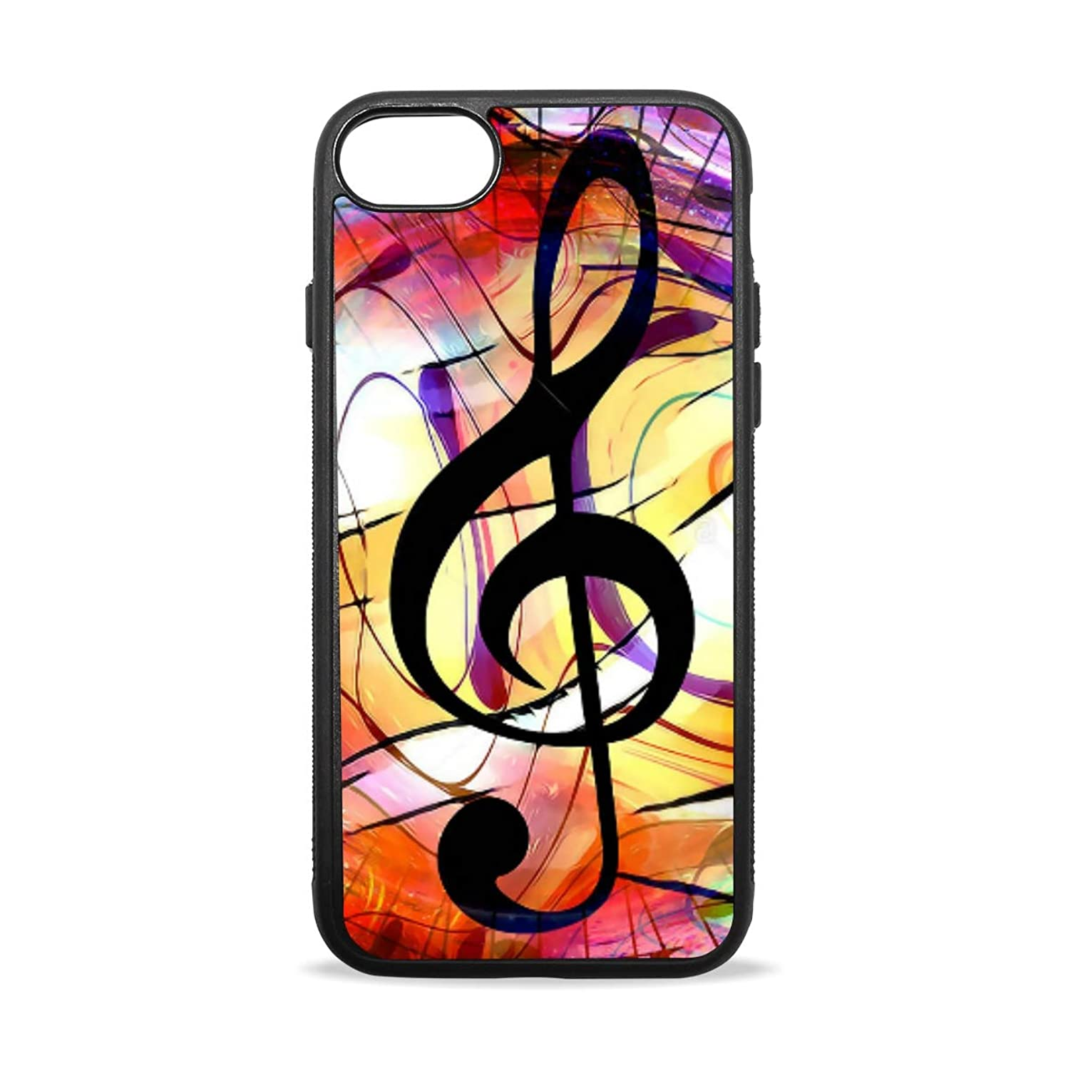 Apple Case Shockproof Slim TPU Protective Cover Couleur Dessin Note Musique Soft Rubber Silicone Cover Phone Case Compatible with iPhone 7/8 iPhone 7/8 Plus [4.7 inch/5.5 inch]
