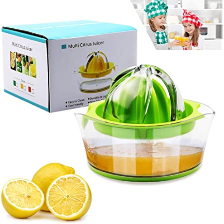 Vanleonet Lemon Squeezer Citrus Juicer with Strainer,Hand Juicer Citrus Lemon Orange juicer Fruit Juicer Lime Press Manual Juicer Squeezer with Built-in Measuring Cup,Green