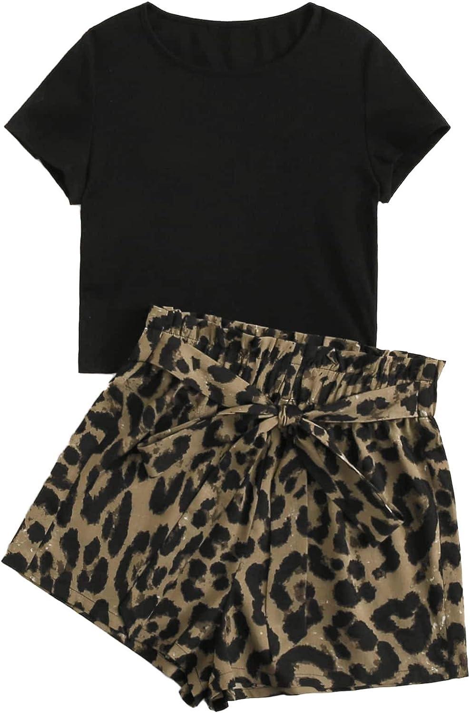 Milumia Women Plus Size 2PCS Set Short Sleeve Crop Top and Leopard Paper Bag Waisted Wide Leg Shorts