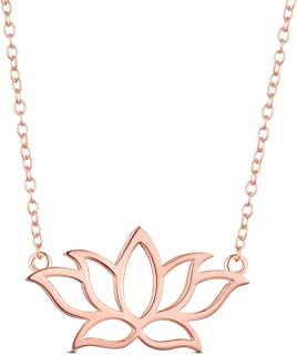 925 Sterling Silver Necklace, with Lotus Flower Pendant 17.3