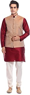 Tag 7 Men's Silk Blend Kurta Pyjama With Jacket Set 44 Red