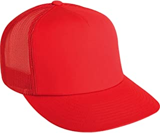 Snap Back Trucker Hat Red Plaid and Solid Red Adjustable Sport Baseball Cap Deadstock San Sun Hat