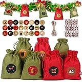 Calendario de Adviento Rellenar, 24 bolsitas de Tela, Juego para Rellenar, para Colgar, Bolsas de Yute, Bolsas de Tela, Bolsas, Base con 1-24 números para Calendario de Navidad DIY Deco