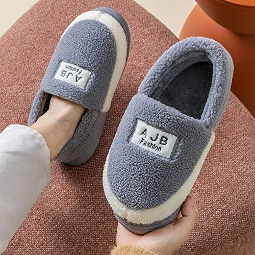 B/H Zapatillas de algodón Ligeras y cómodas,Lindas Pantuflas de Felpa de algodón para el hogar,Pantuflas cálidas Antideslizantes-Gris_42-43,Resistentes Zapatillas Transpirables y Suave
