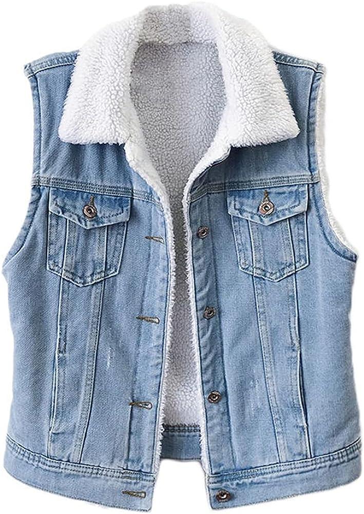 SCOFEEL Women's Slim Fit Sherpa Fleece Sleeveless Jean Jacket Distressed Frayed Denim Vests