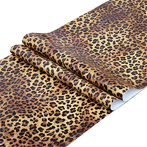 Taogift Self Adhesive Vinyl Leopard Print Contact Paper Shelf Liner for Dresser Drawer Cabinets Table Furniture Walls Crafts Decal Removable 17.7x117 Inches