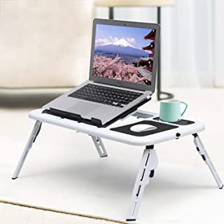 QOZY Foldable Laptop Table, Folding Computer Desk, Adjustable Laptop Stand, Portable Bed Table, Stand Up Monitor Riser, Sm...
