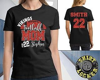 Custom Football Mom Glitter Design Women's Ultra Cotton Tee Shirt Spirit Wear Glitter Bling Design Mother Any Color Combo
