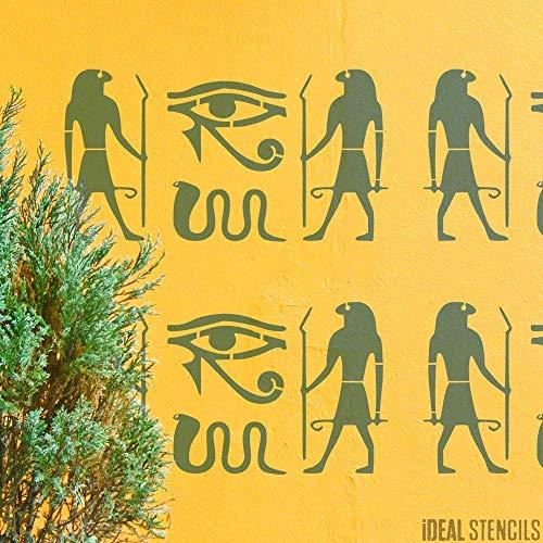 Ägyptische Hieroglyphen Schablone, Wohndeko, Ancient Symbole, Malerei Schablone für Wände, Bodentypen, Stoffe oder Möbel, Wiederverwendbar, Waschbar - XS/ 10X18CM