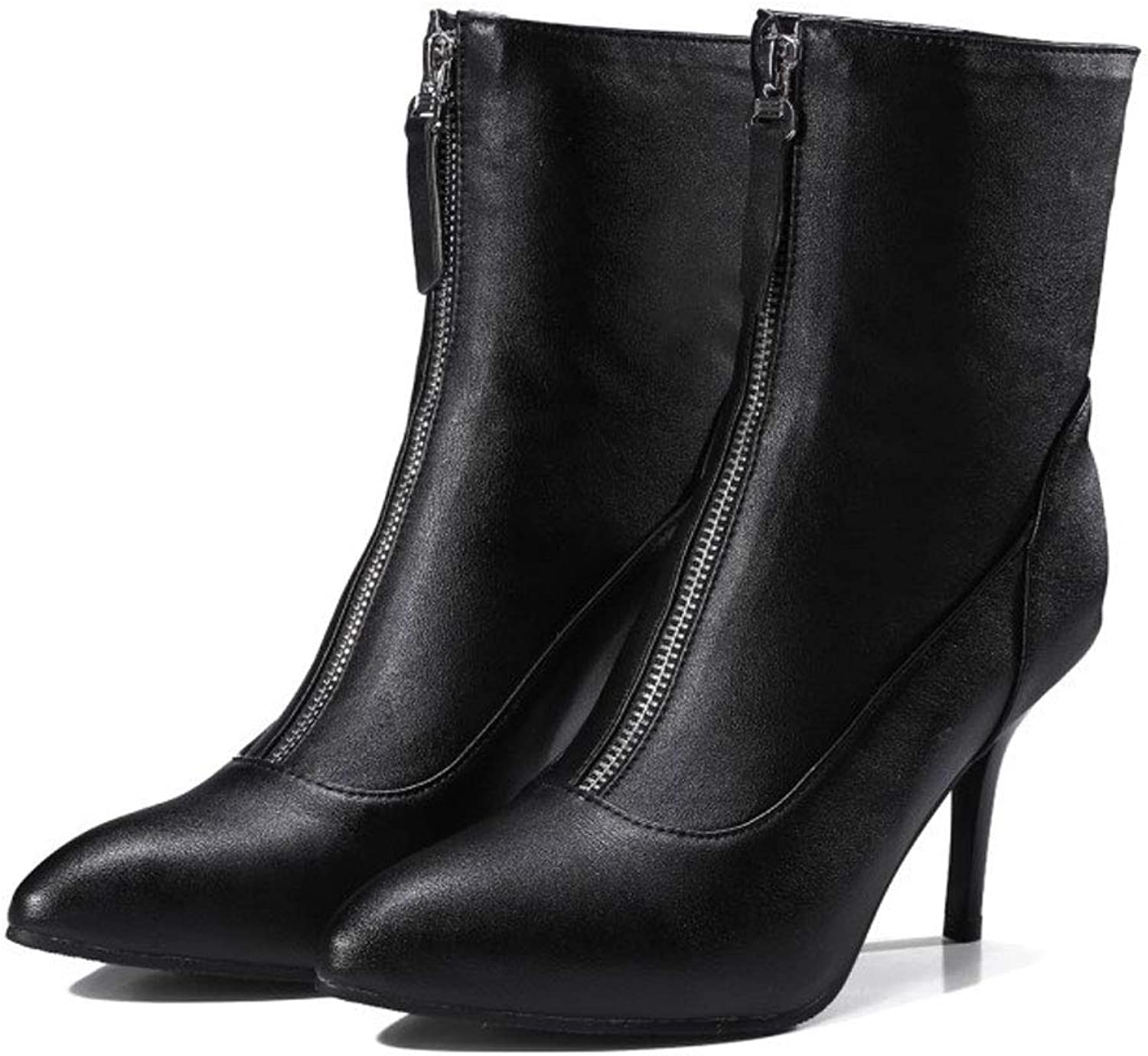 High Heel Ankle Boots, Women's Short Boots Stiletto Pointed Zipper Low Tube Martin Boots Waterproof Platform Non-Slip Women's Party, Work, Dress Boots