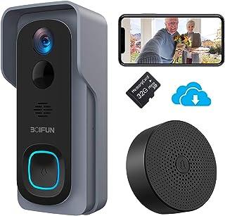 Timbre Inalámbrico con Cámara, BOIFUN HD 1080P Video Timbre Inteligente WiFi, IP66 Exterior Impermeable, Batería de 6700mAh, Visión Nocturna, Comunicación Bidireccional [Incluye Tarjeta SD 32G]