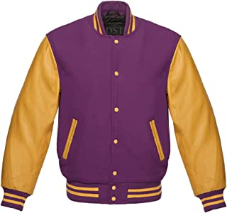 ac03cc324013b0 Men Original American Gold Leather Letterman Baseball Varsity Jacket Gold  Leather Sleeves