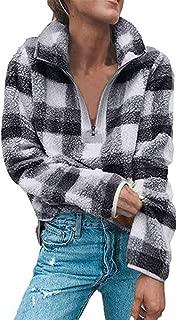 Womens Plaid Long Sleeve Quarter 1/4 Zip Pullover Sherpa Fuzzy Oversized Sweatshirt