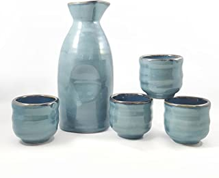 Happy Sales HSSS-BLU03, 5 piece Ceramic Sake set - Grey Blue