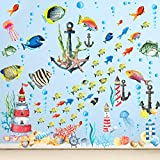 116 Pieces Under The Sea Ocean World Wall Decals Ship Wall Stickers Removable Ocean Wall Decals Lighthouse Wall Decals Sea Creature Decal Sticker for Kids Room Girls Bedroom Playroom Nursery