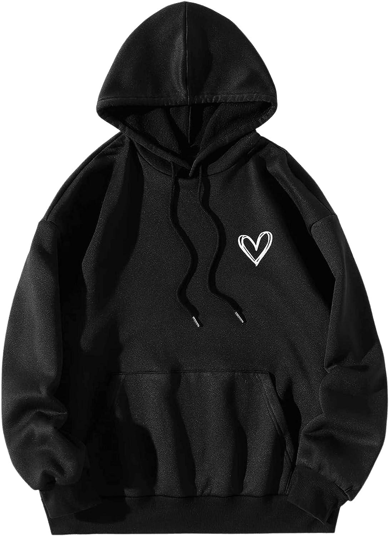 Verdusa Women's Hoodie Sweatshirt Heart Print Kangaroo Pocket Drawstring