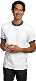 Port & Company Ringer T-Shirt, White and Navy