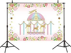 Allenjoy 7x5ft Vinyl Flower Circus Carnival Backdrops Golden Carousel Playground Twinkle Bling Stars Birthday Backdrop Photography Background Children Baby Shower Photo Shoot Studio Props