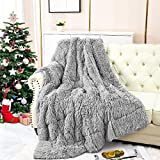 Merelax Shaggy Faux Fur Weighted Blanket 20Lbs, Grey Fluffy Soft Fuzzy Throw Blanket, Plush Cozy Fleece Sherpa Reverse Heavy Blankets for Adult, Decorative Long Fur Throws for Xmas Bed Couch, 60'x80'