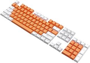 PBT Double Shot Keycap Set - 104 Translucent Backlit Key Cap for All Mechanical Keyboards (Orange White Combo)