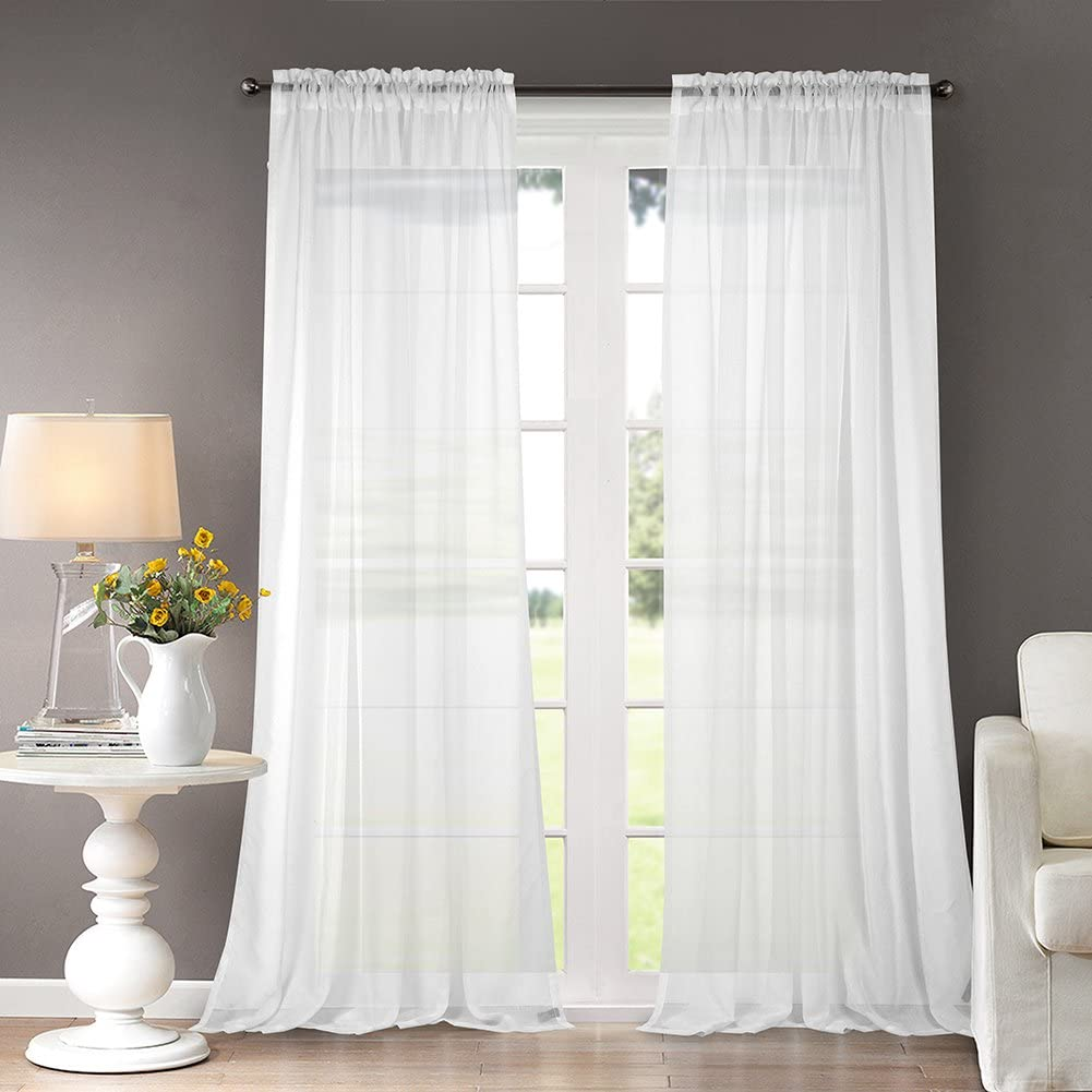 Dreaming Casa Solid Sheer Curtains Draperie White Rod Pocket Two Panels 52 W X 84 L Amazon Ca Home Kitchen