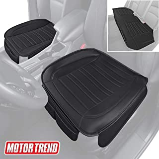Motor Trend MTSC-422 Combo Universal Car Seat Cushion Full Set, Front and Rear Bench – Padded Luxury Covers with Non-Slip Bottom & Storage Pockets – Black Faux Leather Protector for Auto, Truck & SUV
