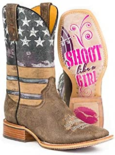 Shoot Like A Girl Tin Haul Women's Size 10 American Flag Stars Transparent Sole Leather Cowboy Boots