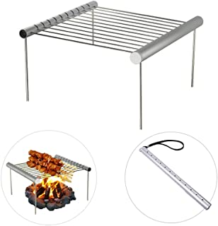 AOVOA Portable Camping Grill, Folding Compact Charcoal Barbeque Grill for Outdoor, Picnics, Backpacking, Backyards, Survival