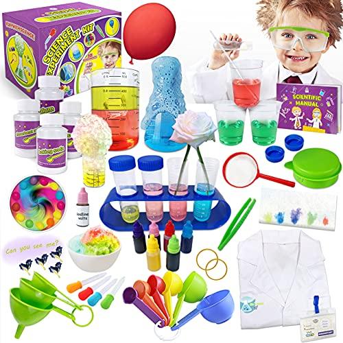 Kit e Esperimenti di Scienze, Scientifico Giocattolo Educativo 30 Esperimenti e Libretto Laboratorio Scientifico con Camice da Laboratorio, Giganti e Impara i Colori Primari, per Bambini +4 Anni