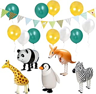 ETLEE Jungle Safari Party Supplies -Walking Animal Balloons & Multicolor Triangle Flag Banner & Latex Balloons for Zoo Theme BBQ Birthday Party Decorations