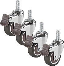 4 stks 360 ° rotatie meubels wielen rubber 2in swivel castor wielen met remmen, met M8 / M10 standaard stengel, kogellage...