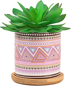 Artificial Succulents in Pots, Hisow Mini Succulents Plants Artificial Vase with Bamboo Tray, Fake Succulents Plant Decor Wonderful Bedroom Bathroom Outdoor Desk Decoration (Snow Lotus)