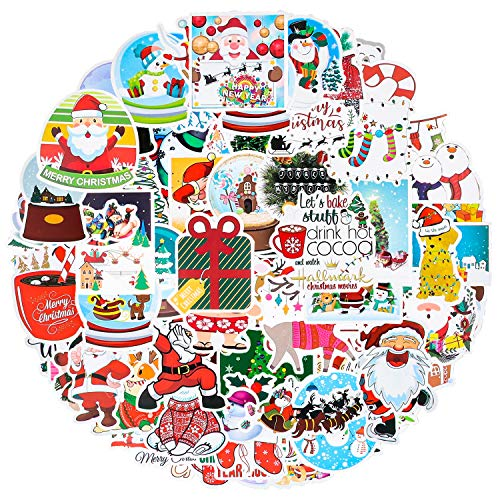 100pcs Paquete de Pegatinas, Pegatinas de Navidad, Adhesivos Impermeables de Vinilo, Pegatinas se Utilizan Para Decorar de Navidad, Ventanas, Manualidades, Portátiles, Coches