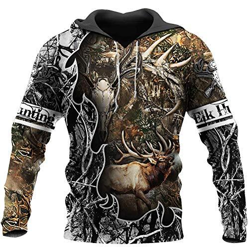 7eaven Elk Hunting Sport Hoodie Men's Hoodies Cool Sweatshirt Camo Long Sleeve Shirts