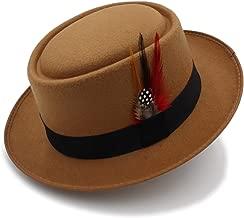 Mens Trilby Hat Vintage Women Men Pork Pie Hat Dad Wool Flat Fedora Hat for Gentleman Gambler