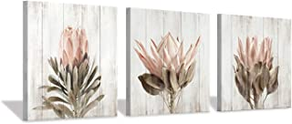 Floral Canvas Wall Art Print: Flower Bloom Picture Graphic Artwork Painting for Washrooms (12