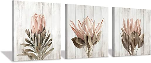 """Floral Canvas Wall Art Print: Flower Bloom Picture Graphic Artwork Painting for Washrooms (12""""x12""""x3pcs)"""