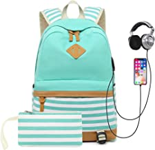 "Sqodok School Backpack Canvas Bookbag 15.6"" Laptop Backpack with USB Charger Port Travel Daypack"