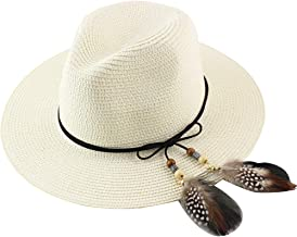 CAMOLAND Women Straw Fedora Hat Wide Brim Summer Foldable Panama Beach Sun Hat UPF50+
