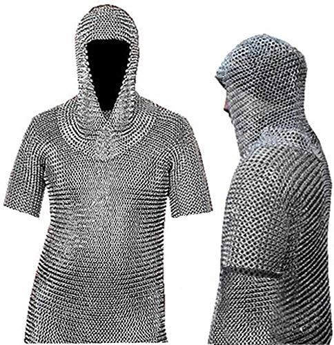 Camisa de COTA de Malla de Aluminio a Tope COTA de Malla de Aluminio Haubergeon Armadura Medieval de M.J Enterprises