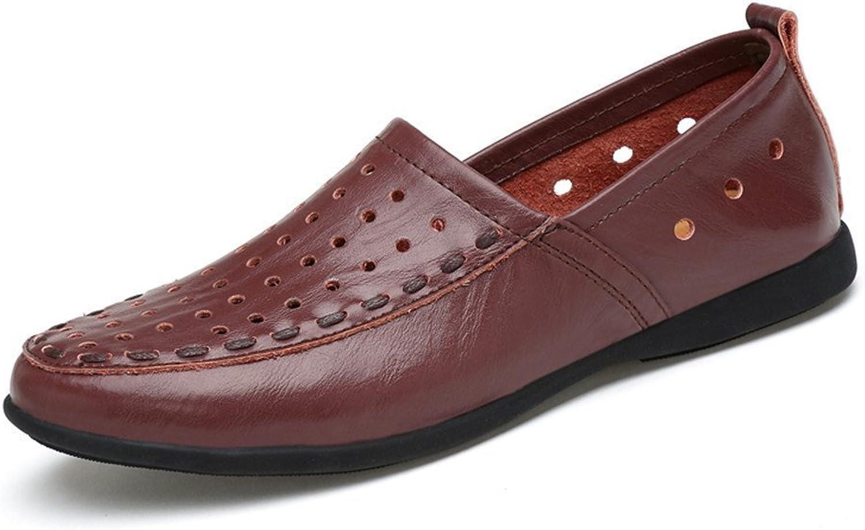 Dig dog bone Men's Genuine Leather Moccasins Slip on Suede Insole Loafer (color   Dark Brown Breathable Style, Size   9 D(M) US)