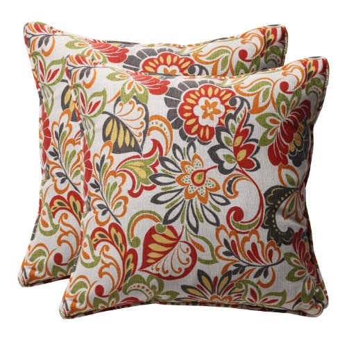 Pillow Perfect Outdoor/Indoor Zoe Citrus Throw Pillows, 18.5' x 18.5', Green, 2 Pack