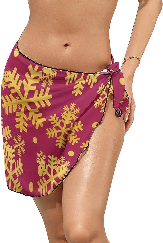 Women's Beach Sarongs Bikini Cover Ups Golden Red Christmas Snowflakes Sheer Swimwear Short Skirt